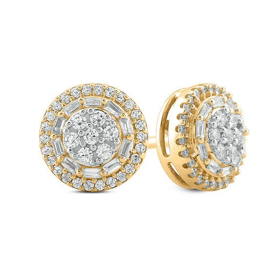 1 3 Ct T W Composite Diamond Double Frame Stud Earrings In 10k Gold Piercing Pagoda In 2020 Yellow Gold Earrings Studs Diamond Earrings Studs Diamond Studs