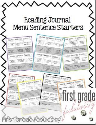 Reading Journal response menus