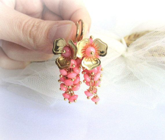 Pink coral earrings coral cluster earrings by MalinaCapricciosa