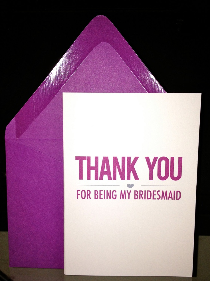 do i send wedding invitations to bridesmaids%0A Bridesmaid Thank You Cards  Heart Accent