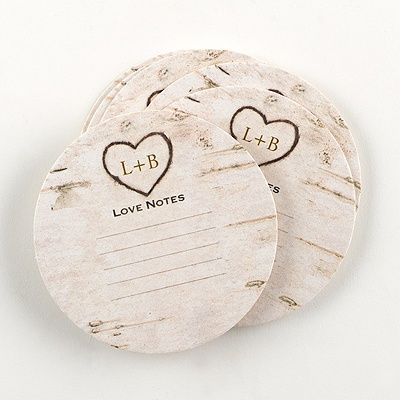 rustic birch wedding advice coasters. an adorable way to get personal advice or notes from your guests then keep after the wedding.