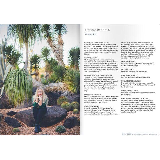 Linds featured in Brisbane Wedding Weekly