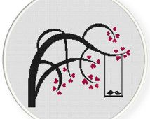 INSTANT DOWNLOAD,Free shippingCounted Cross-Stitch PDF,Love birds kiss on heart tree,valentine's day, wedding,zxxc0438