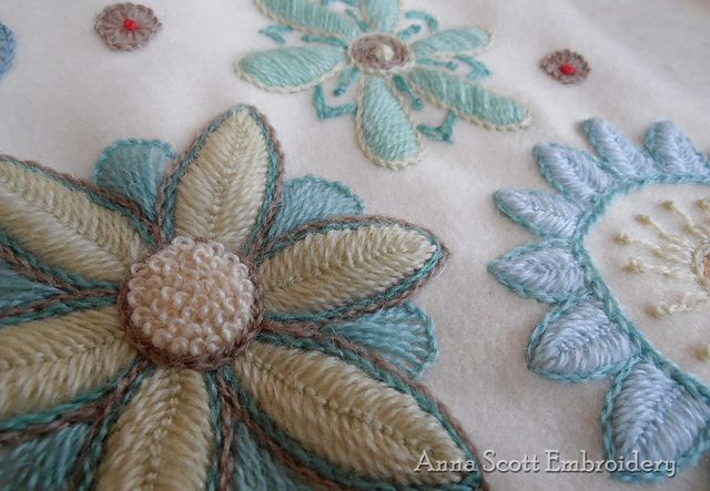 Wool embroidery on blanket