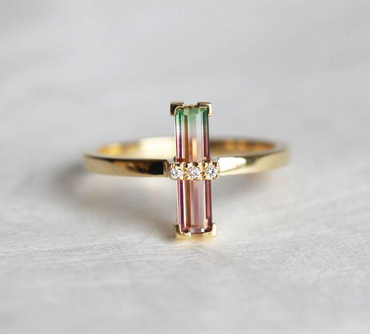 Watermelon Tourmaline Ring Bi Color Tourmaline Ring by MinimalVS