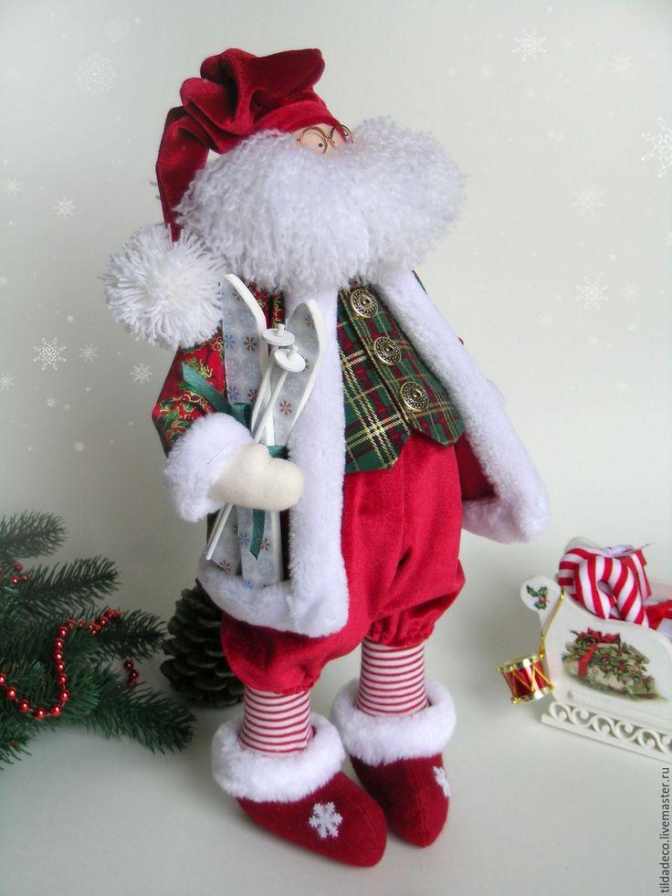 Купить Санта Клаус - бордовый, санта клаус, санки, олень, рождество, подарки, Новый Год