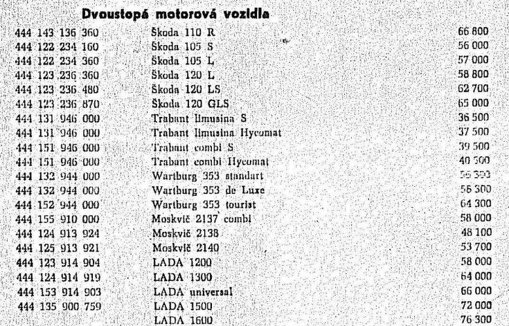 Ceník Mototechny z roku 1978: co stály Škody? A co Fiaty, Renaulty, Tatra 613? - 3 -