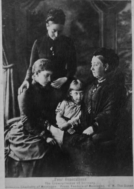 Four generations of daughters: Queen Victoria - Victoria, Crown Princess of Prussia (standing) -  Princess Charlotte of Prussia - Princess Feodora of Saxe-Meiningen    Such a rare, fascinating photograph!