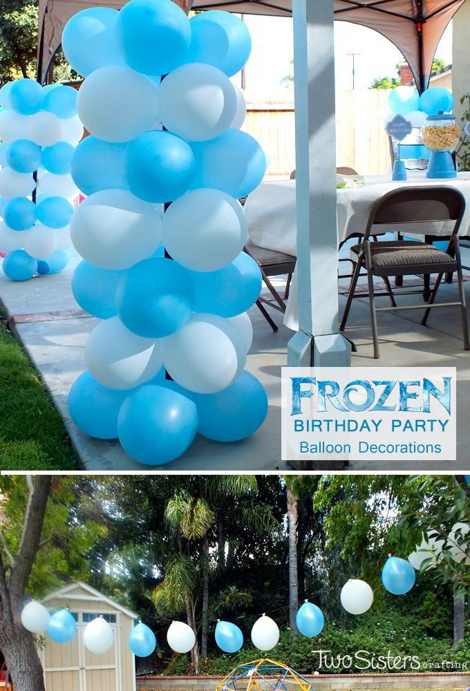 Disney Frozen Balloon Decorations - these easy to make balloon columns and balloon banners make any party more festive and fun and were a big hit at our Frozen Birthday Party. For more great Frozen Party Ideas follow us at http://www.pinterest.com/2SistersCraft/