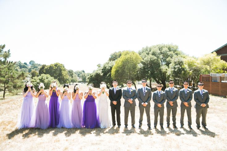 San Rafael Wedding – The Clubhouse at Peacock Gap: Amy + Randy  What a lovely wedding party! The purple and green combination looks great. Even better with the lovely landscape in the background. Thanks for hosting a wedding at The Clubhouse at Peacock Gap!