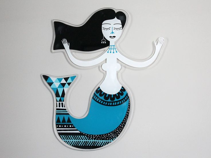 Mermaid | Plexiglass wall art | screenprinted & lazer cutted | 52 x 60 x 0.8 cm