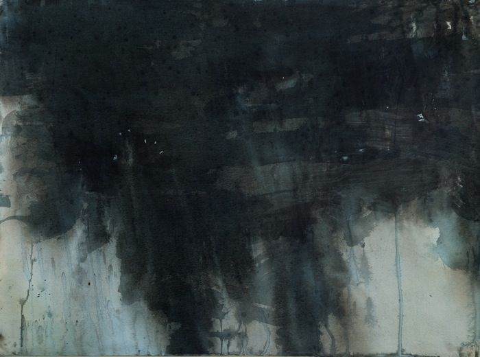 """Janicke Schønning - Spring: """"While the children sleep"""" - Spring night by the river, ink and gouache on paper 2013"""