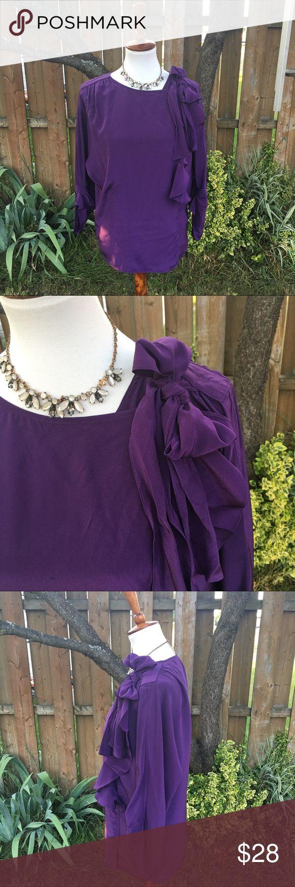 BCBG Maxazria Purple 100% Silk Ruffle Blouse Ruffle Front Blouse -- Long Sleeve -- 100% Silk --  Boat Neck -- Wrap Blouse -- Has Oversized Looked BCBGMaxAzria Tops Blouses
