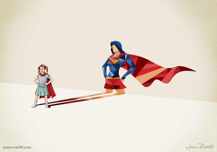 """C'est une série de dessins de Jason Ratliff intitulée """"Super Shadows"""", des enfants avec des ombres super héro."""