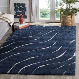 Shop for Safavieh Florida Ultimate Shag Contemporary Dark Blue / Cream Shag Rug (8' x 10'). Get free shipping at Overstock.com - Your Online Home Decor Outlet Store! Get 5% in rewards with Club O! - 20790582