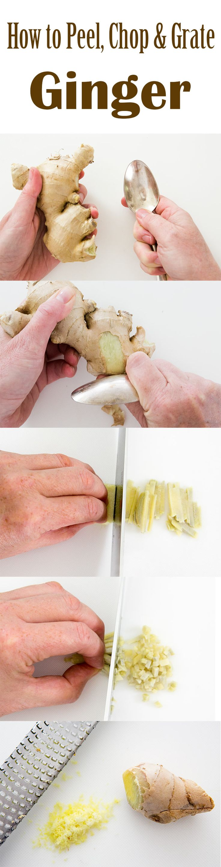 How to easily peel, slice, julienne, chop, mince, and grate ginger root.