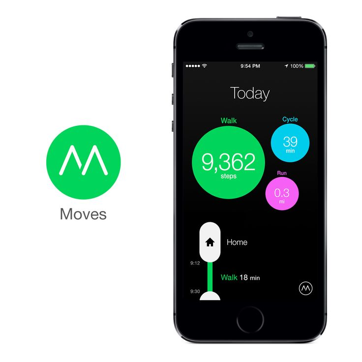 MOVES - Moves automatically records any walking, cycling, and running you do. You can view the distance, duration, steps, and calories* burned for each activity.