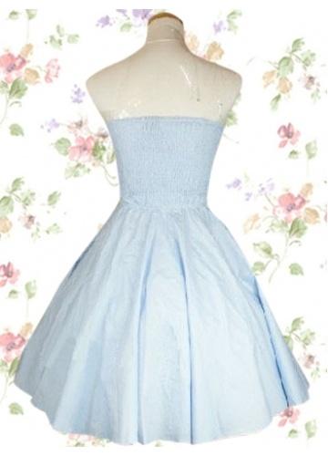 Light Blue Cotton Strapless Pintucked Sweet Lolita Dress: Cotton Sweet, Lolita Dresses, Pintuck Cotton, Blue Cotton, Strapless Pintuck, Cotton Strapless, Pintuck Sweet, Sweet Fashion, Lights Blue