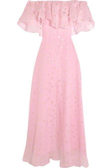Temperley London - Off-the-shoulder Fil Coupé Silk-blend Organza Gown - Pink - UK16