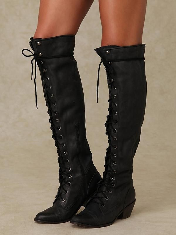 Bandage Thigh high Boots Shoes   Black leather boots women