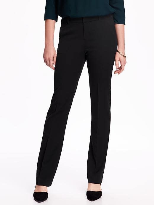 Mid-Rise Straight Trousers for Women - Black
