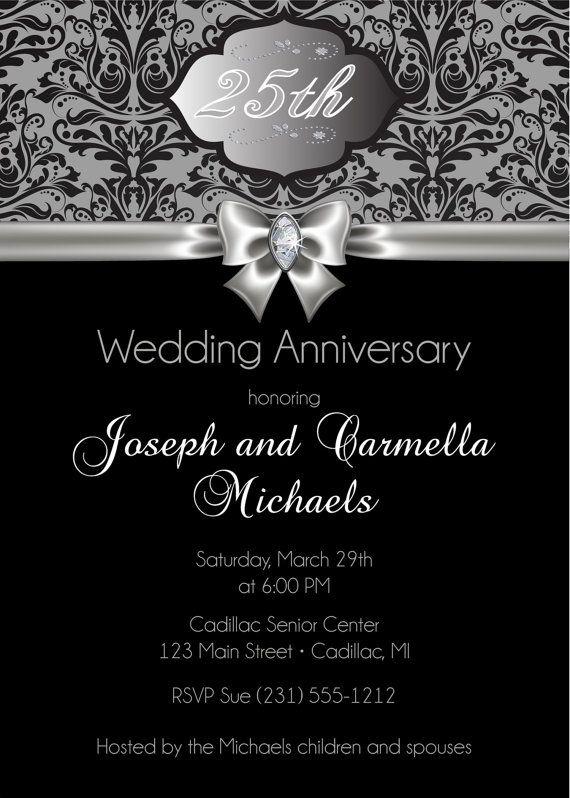 25th Anniversary Invitation, 25th Wedding Anniversary Invitation, Silver Diamond Party Printable