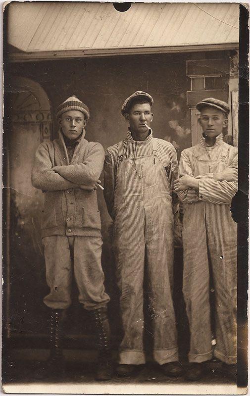 1920s railroad men in striped denim overalls