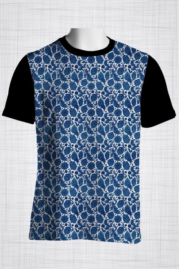 Plus Size Men's Clothing Blue paisley print CC0416      #plussizemenclothing