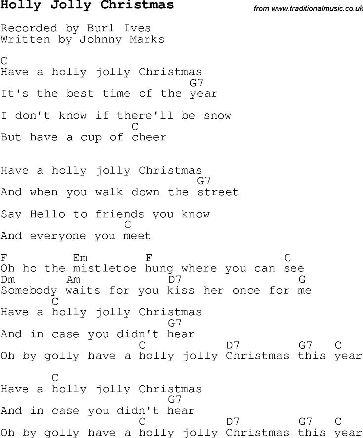 Christmas Songs and Carols, lyrics with chords for guitar banjo for Holly Jolly Christmas : UKU ...
