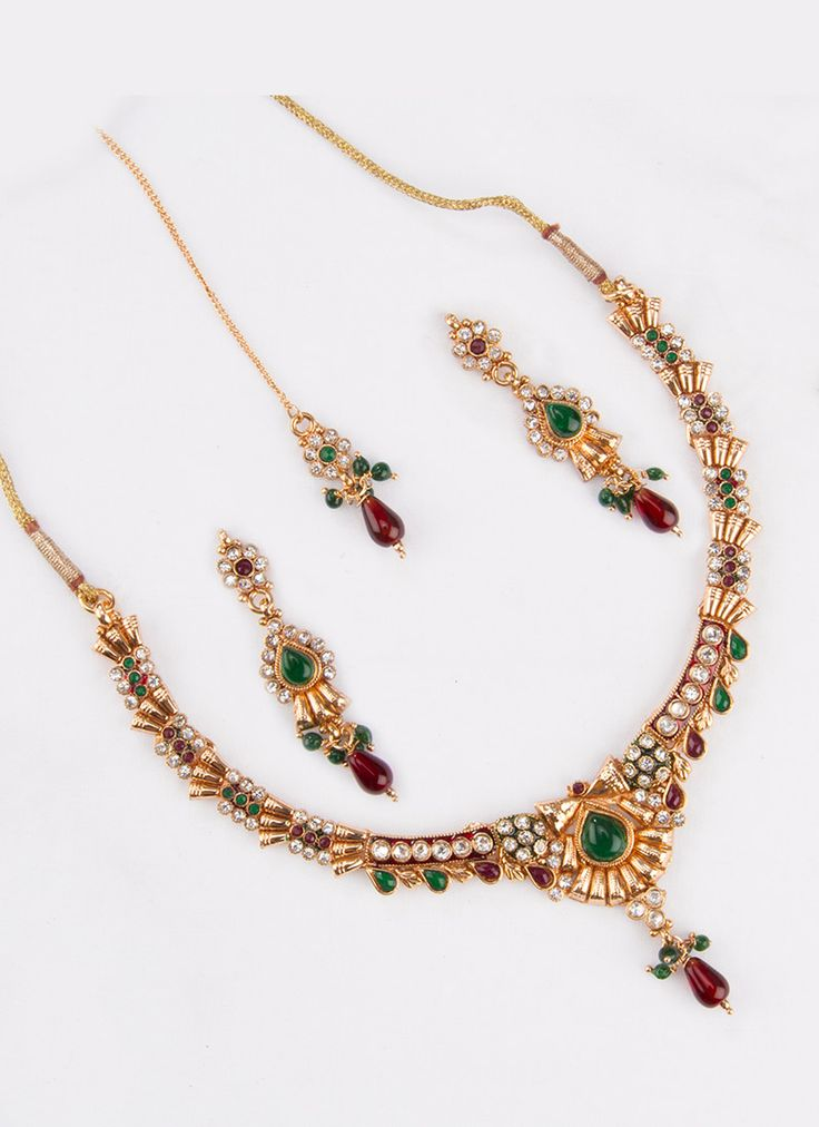 Classic Maroon and Green Necklace Set : Cbazaar
