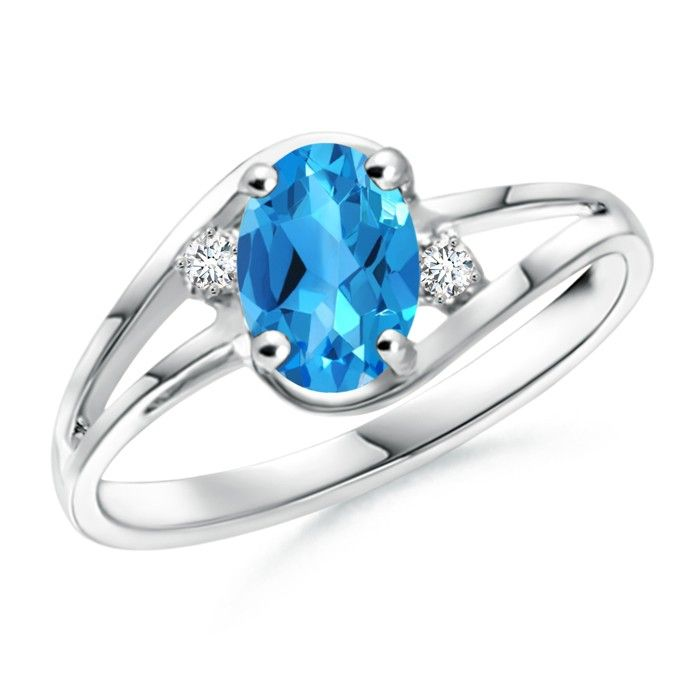 Angara Scattered Split Seven Swiss Blue Topaz Wedding Band Ring DTKpyyGp