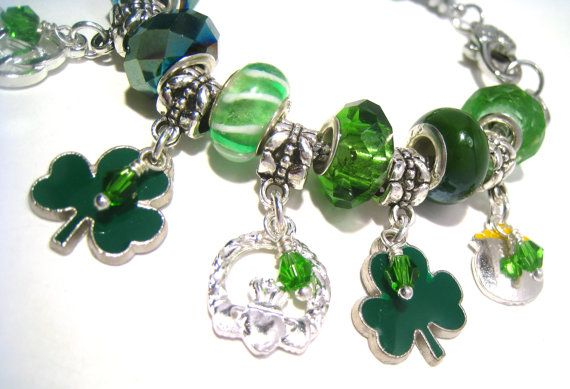 Luck of the Irish Pandora Style Charm Bracelet by BrankletsNBling,