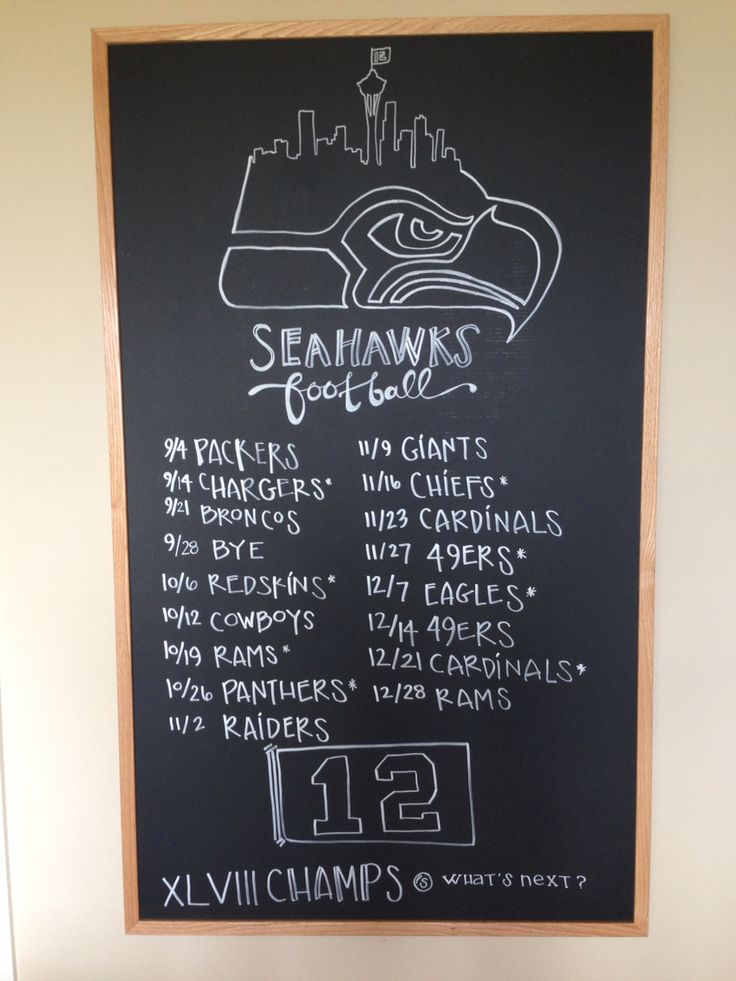 2014 Seahawks Schedule #chalkboard #12thMan #whatsnext