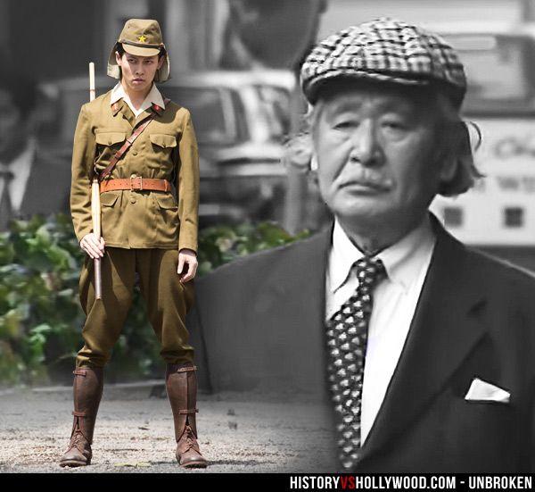 "Actor Miyavi in the Unbroken movie and the real Mutsuhiro Watanabe aka ""The Bird""  in 1998. See 'Unbroken: History vs. Hollywood' - http://www.historyvshollywood.com/reelfaces/unbroken/"