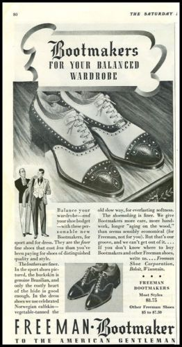 1940s ad for Freeman Bootmaker men's shoes. Balance Your Wardrobe.
