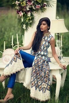 Stunning designer straight suit in electric blue and cream. Love the bold kurta design! #indian #wedding