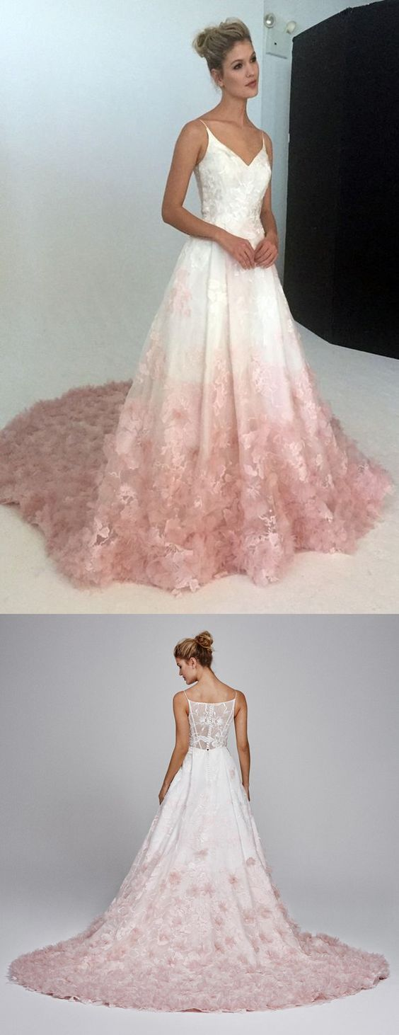 V-Neck Evening Dress,Silk Organza Formal Dress,Ball Gown with Floral Embroidery Applique, Silk Organza Petal Detail In Blush Ombre,Plus Size Prom Gown,Prom Dresses M4026