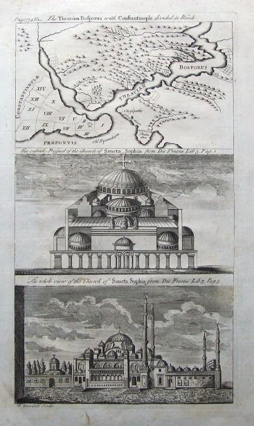 "Hagia Sophia-Ayasofya-An 18th century copper engraved set of two prints of the Hagia Sophia Mosque, together on one sheet with a map of Constantinople (Istanbul) and the Bosporus. Engraved by T.Blundell, circa 1780 via nevin kurtay ""Preserve, reserve, serve; the life and times of istanbul at the heart of historical center."" www.armadaistanbul.com www.armadaistanbulculture.con"