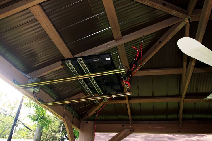 Unistrut And Pulley System Tv Retracts Into Gazebo Roof