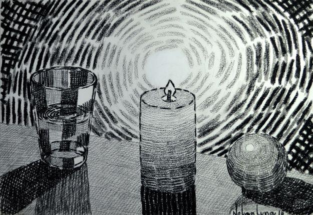 'Velón, Vaso y Naranja'. Dibujo a Lápiz Carbón y Pastel Negro. Nolan Luna. 2016.