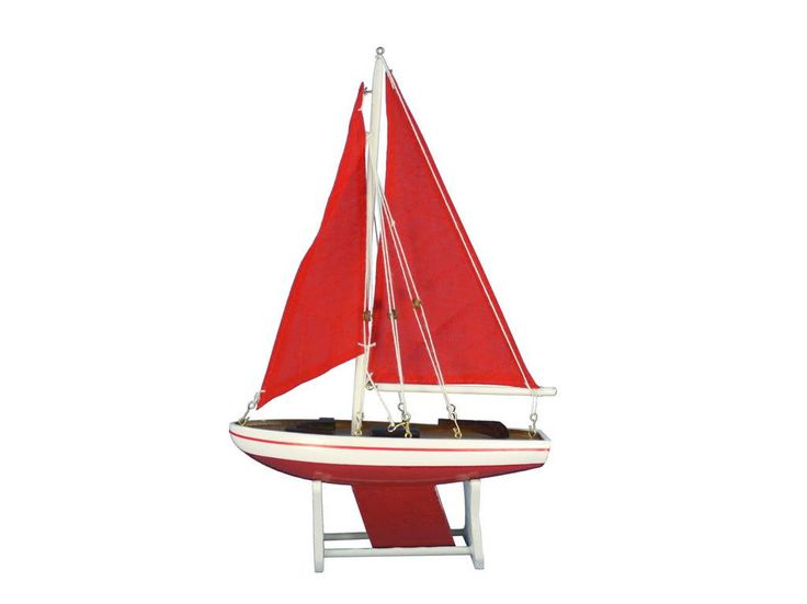 "Wooden It Floats 12"" - Red with Red Sails Floating Sailboat Model"
