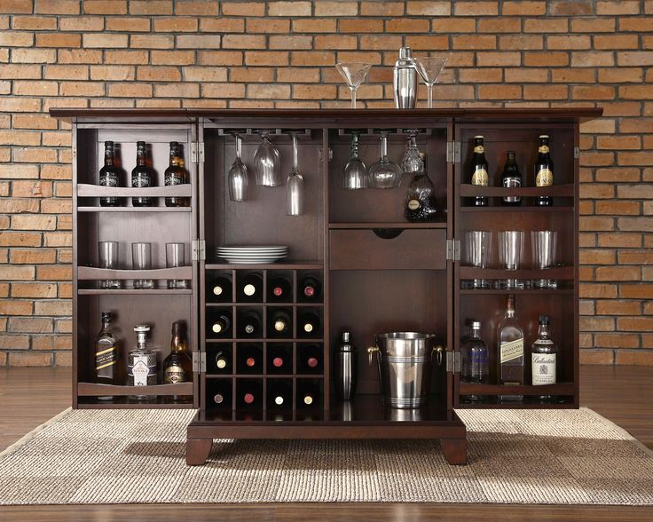 crosley newport expandable bar cabinet in vintage mahogany finish