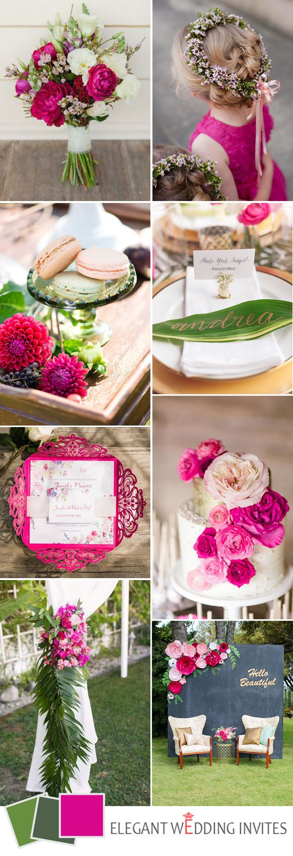 green and hot pink boho wedding  color ideas