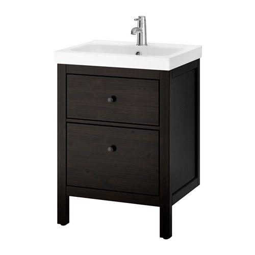 IKEA - HEMNES / ODENSVIK, Servantskap med 2 skuffer, beiset, brunsvart, , Lettrullende skuffer med uttrekksstopp. Lukkes mykt og stille.Du kan enkelt se og nå tingene dine fordi skuffene kan trekkes helt ut.Den inkluderte vannlåsen er enkel å koble til avløp, vaskemaskin og tørketrommel fordi den er fleksibel.Den unike vannlåsen gir plass til en skuff i full størrelse.