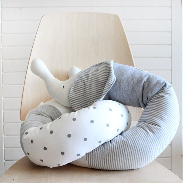 Baby elephant bumper pillow in Ivory and grey