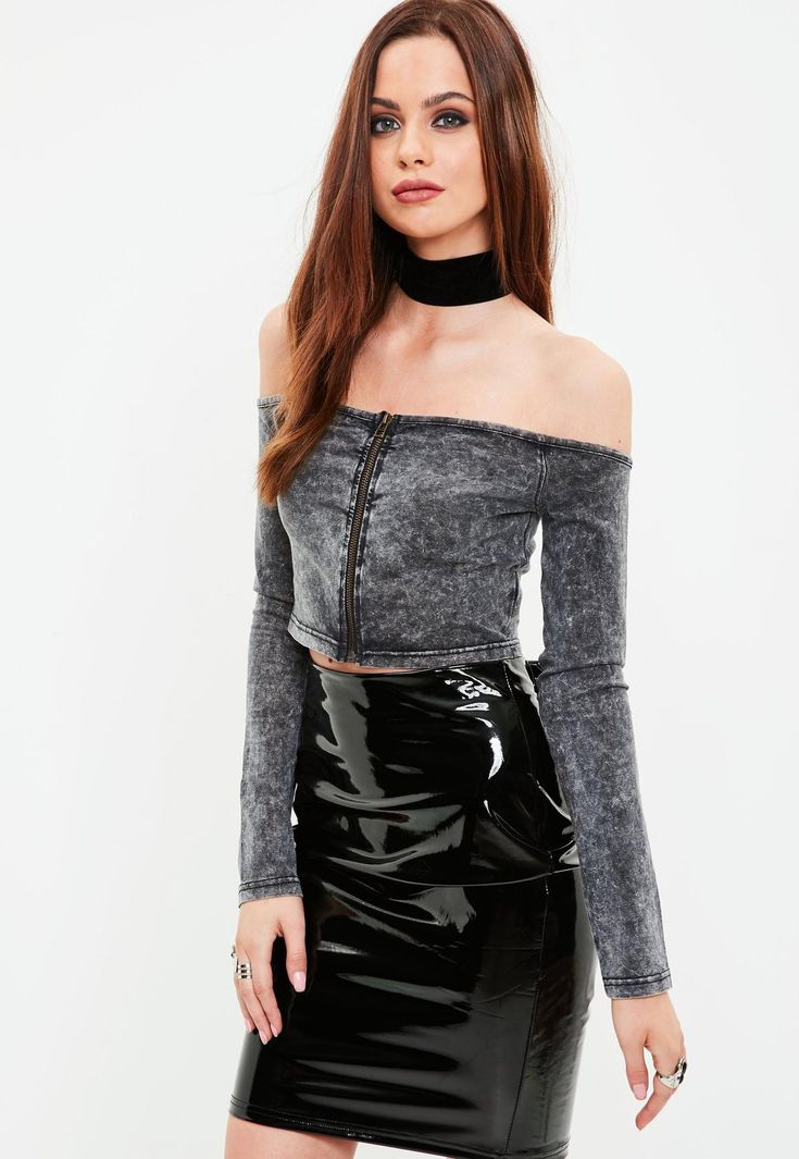 Missguided - Grey Washed Bardot Top