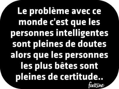 intelligence, doutes et certitudes...