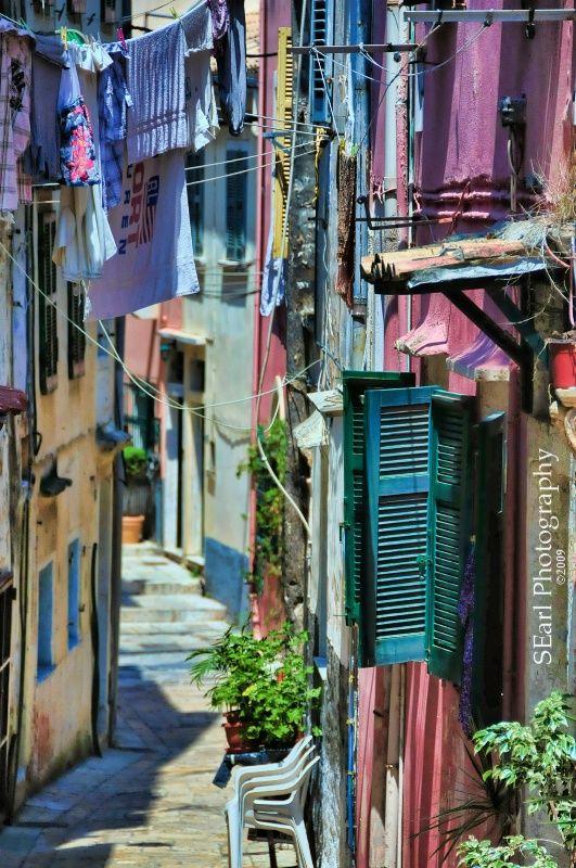 Clothesline Alley, Corfu, Greece © Shelia  Earl