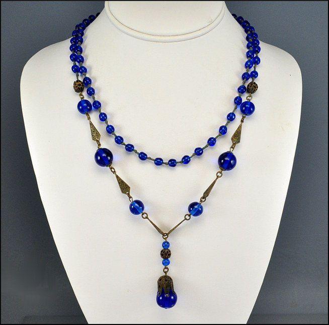 Antique Art Deco Necklace Czech Glass Bead Flapper Necklace Brass Vintage Jewelry 1920s Cobalt Blue. via Etsy.