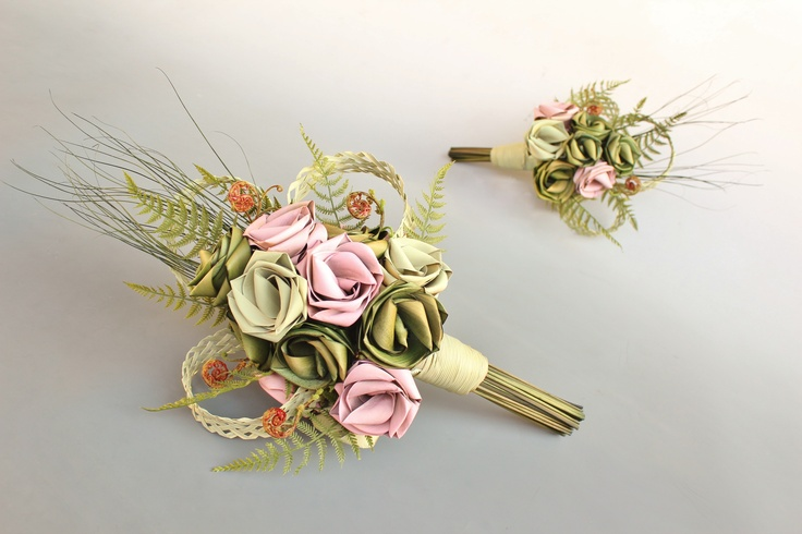 Cascading bouquets with woven loops, koru and fern in sage, pale mint and pale pink.  www.flaxation.co.nz